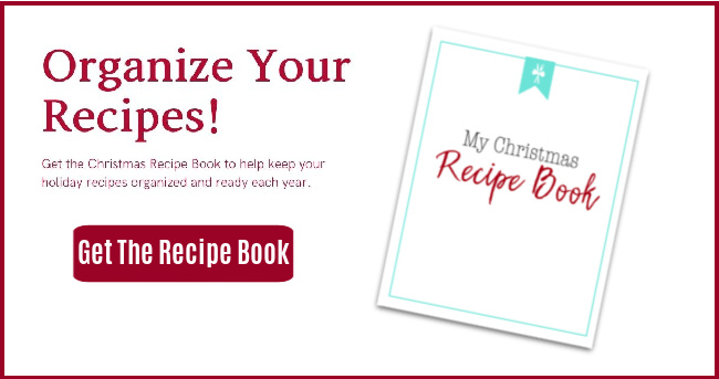 ad for Christmas recipe book with text organize your recipes