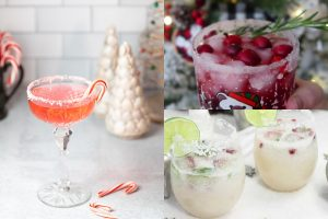three photos of christmas cocktails