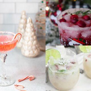 three photos of christmas cocktails