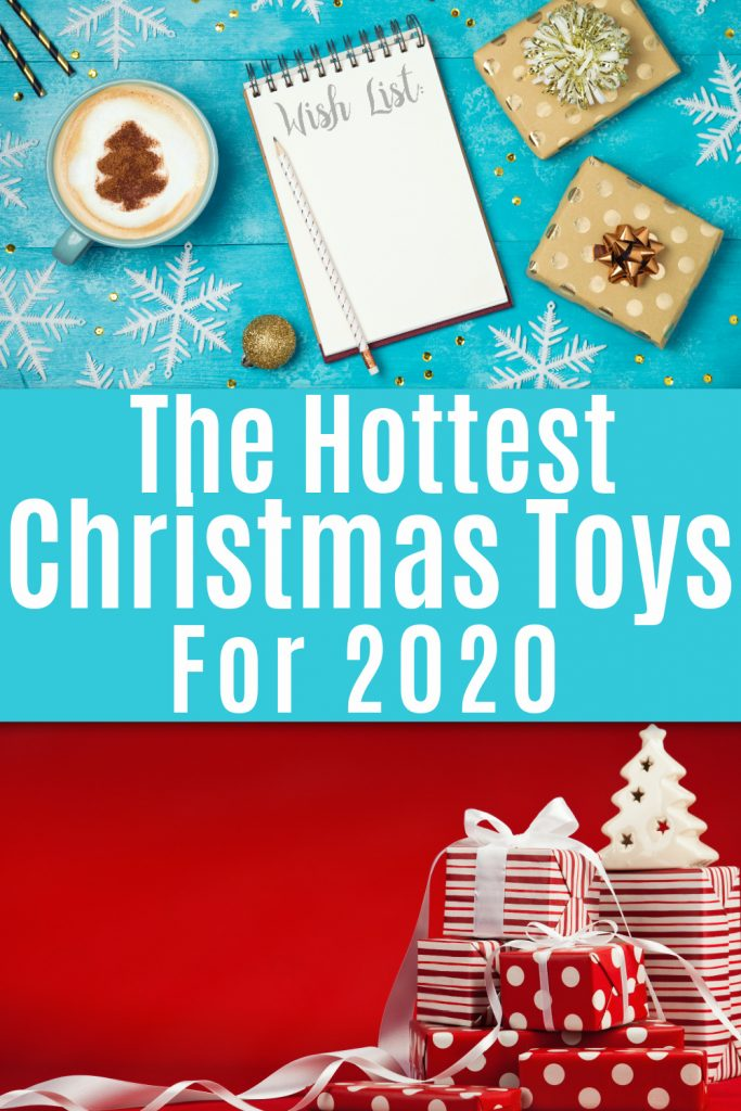 Collage of christmas presents in front of red background and christmas wish list on turquoise table with christmas decor