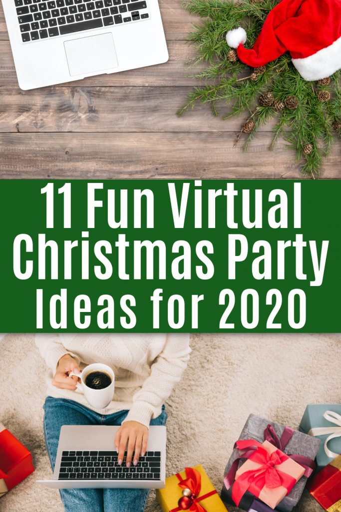 laptop on desk with Santa hat and woman on laptop surrounded by Christmas gifts with text 11 fun virtual christmas party ideas for 2020