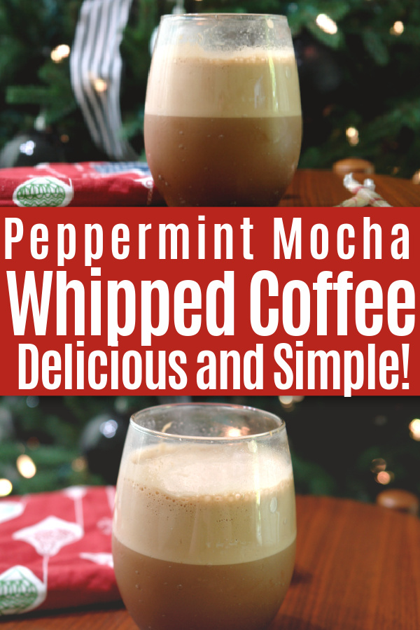 collage of peppermint mocha whipped coffee on table in front of Christmas tree