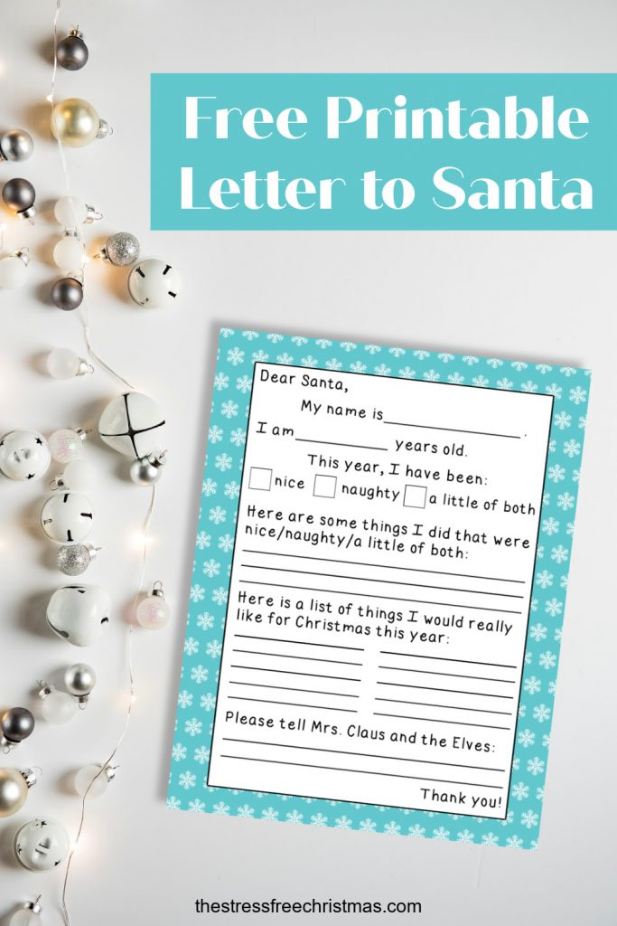 letter to Santa printable on white background with lights and bells