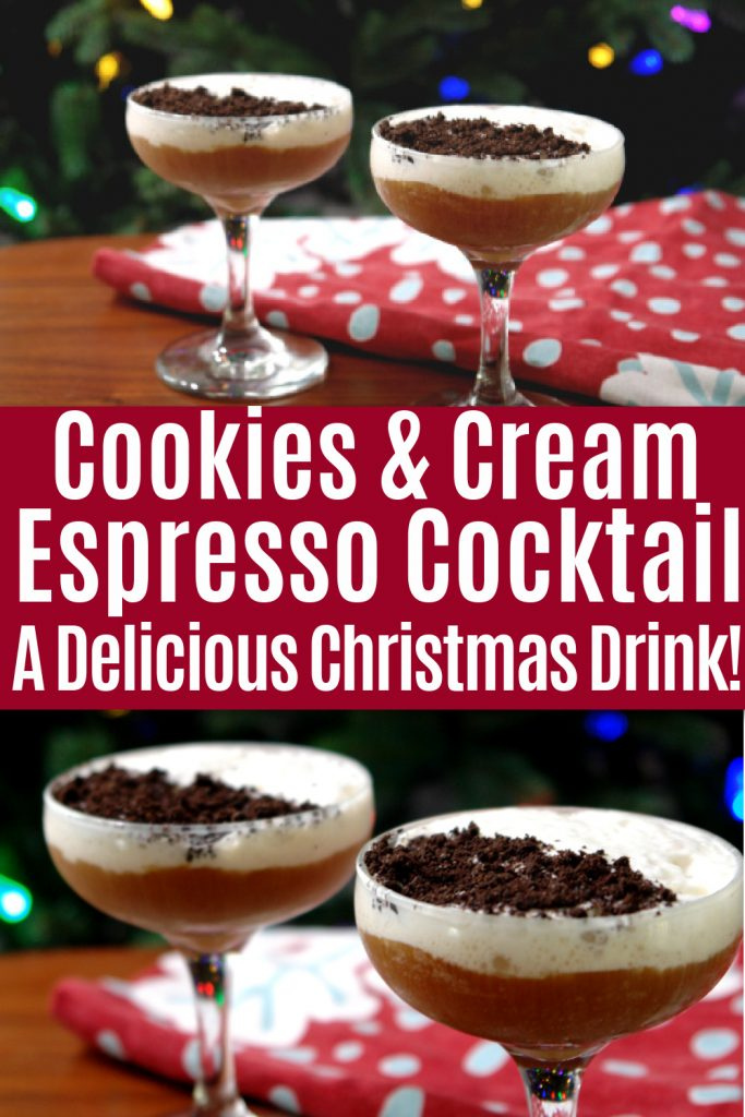 collage of photos of cookies and cream espresso cocktail in front of christmas tree on table