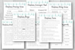 christmas game printables on grey background