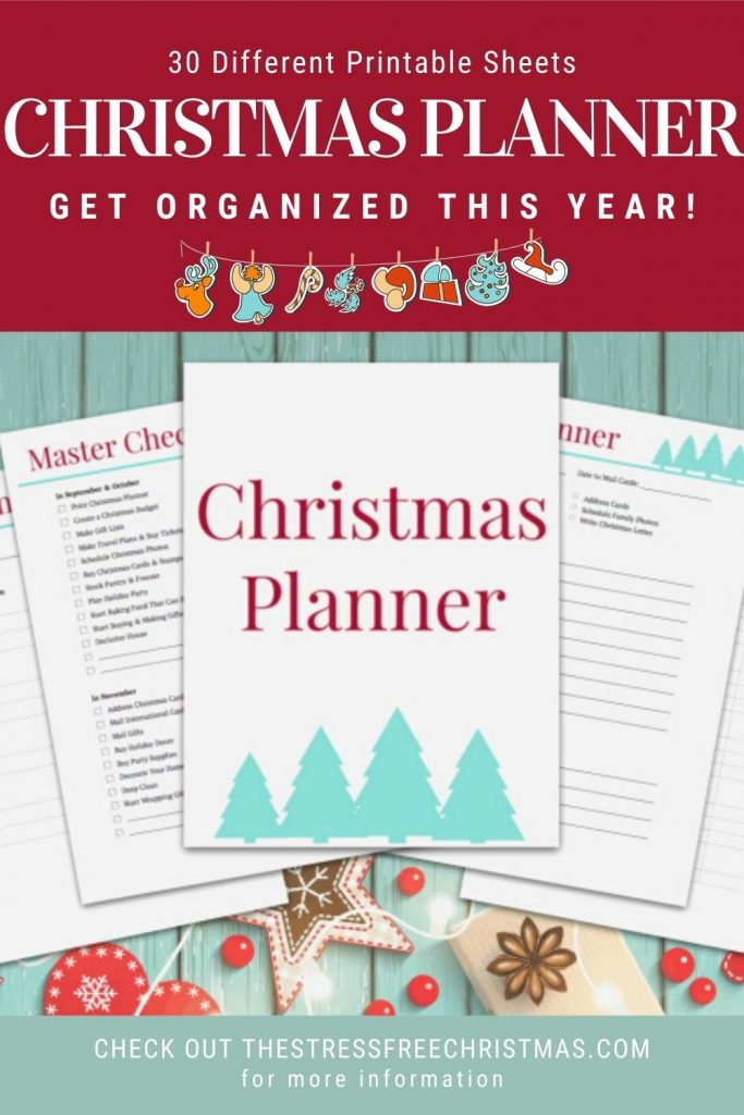 christmas planner on turquoise wooden table with christmas decorations