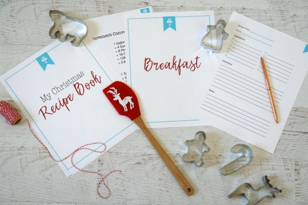 recipe book printables on table