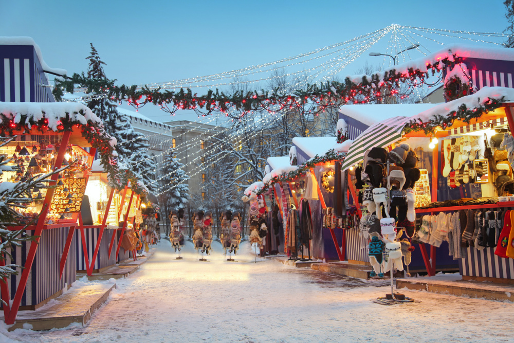 holiday market in the snow