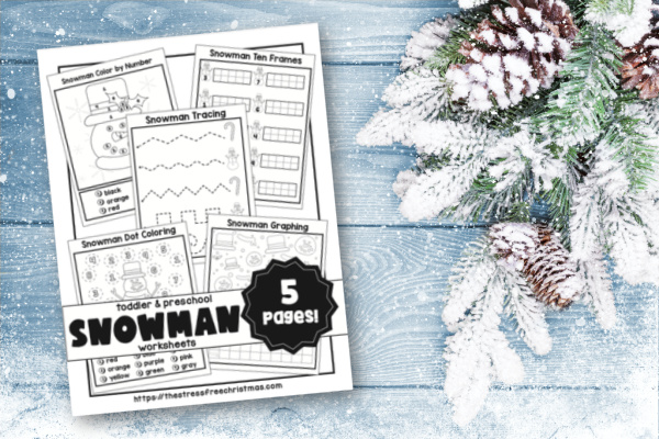 Old wood texture with snow and fir background with cover of snowman winter worksheets