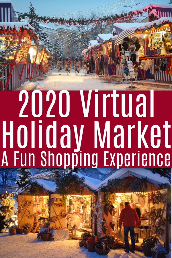 snowy holiday market with lights and shoppers