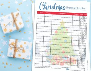 christmas expense tracker on blue background with christmas gifts