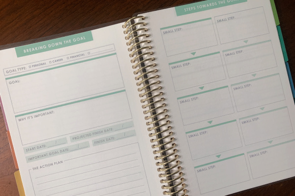 goal setting journal open and on table