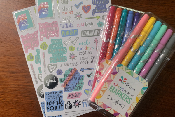 goal setting stickers and markers