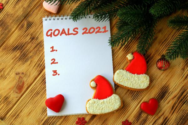 goals 2021 notebook and Santa cookies