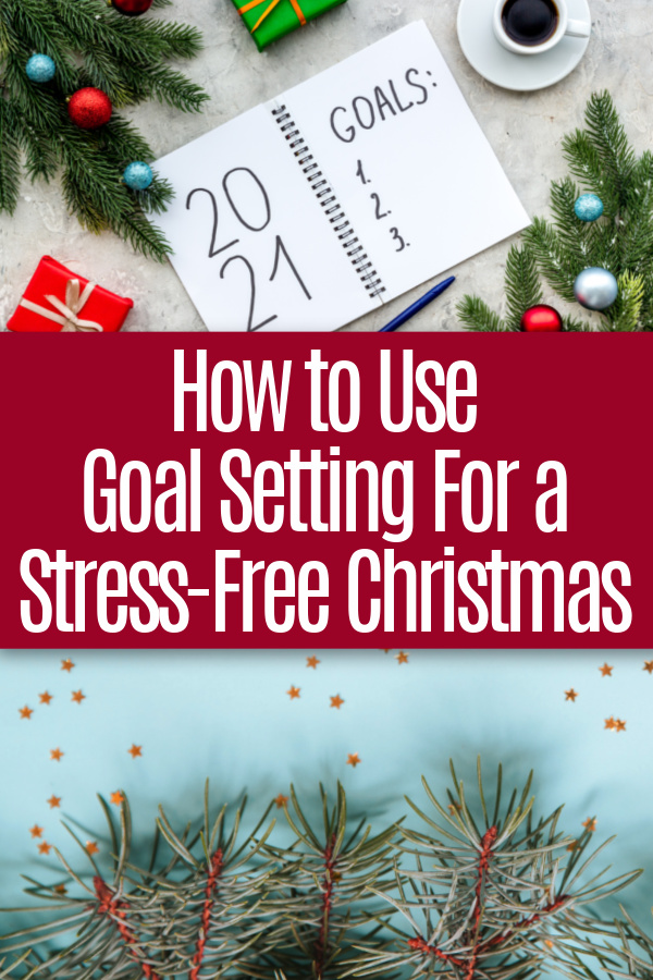 collage of christmas decor and christmas goal notebook