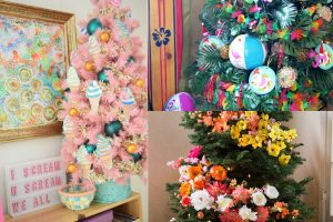collage of summer christmas trees