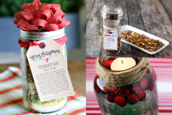 collage of christmas gifts in mason jars