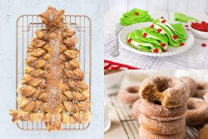 collage of christmas breakfast recipes