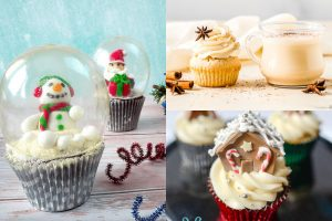 collage of christmas cupcakes