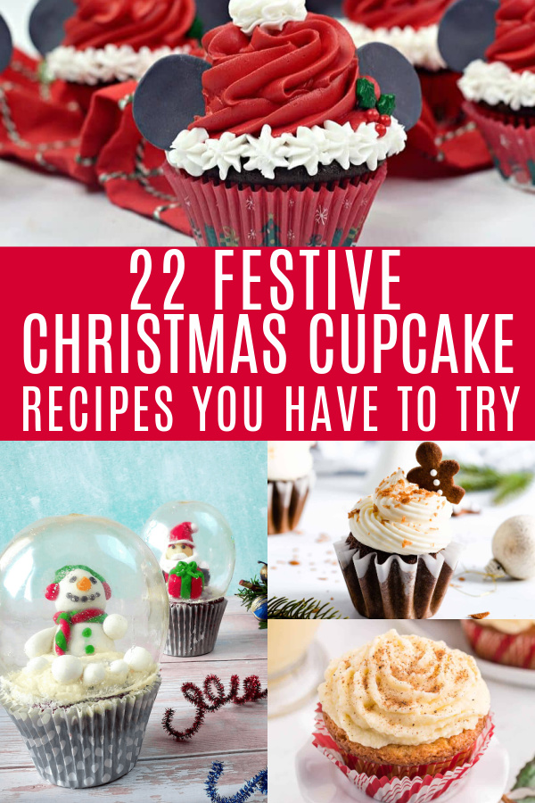 collage of christmas cupcake recipes