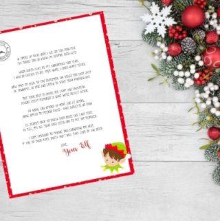 elf on the shelf return letter on christmas background